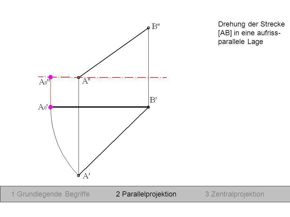 Drehung der Strecke [AB] in eine aufriss- parallele Lage. 1 Grundlegende Begriffe. 2 Parallelprojektion.